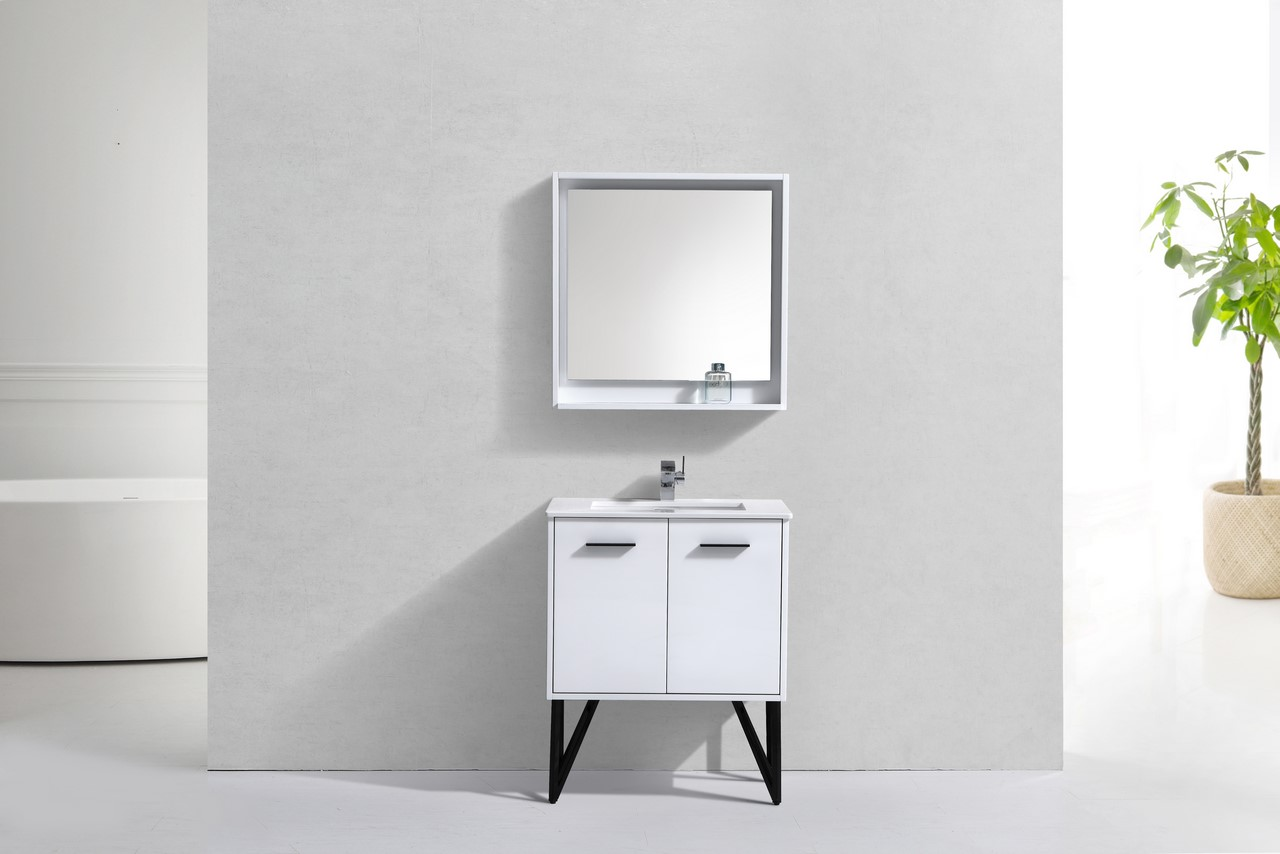 30 Inch High Gloss White Bathroom Vanity With Quartz Countertop And Matching Mirror