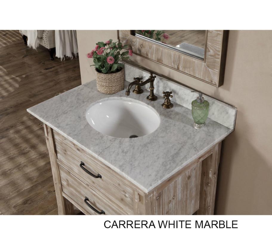 ... Rustic Bathroom Vanity White Marble Top ...