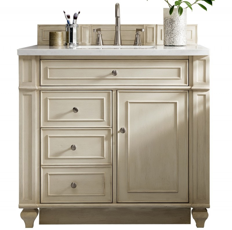 36 Inch Antique Single Sink Bathroom Vanity Vintage Vanilla Finish
