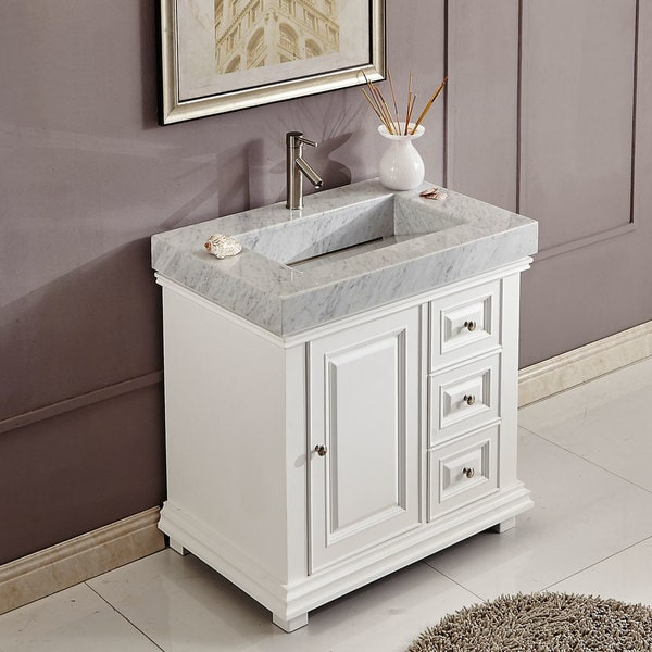 white bathroom vanity 36 inch 36 inch bathroom vanity white finish integrated carrara 24627