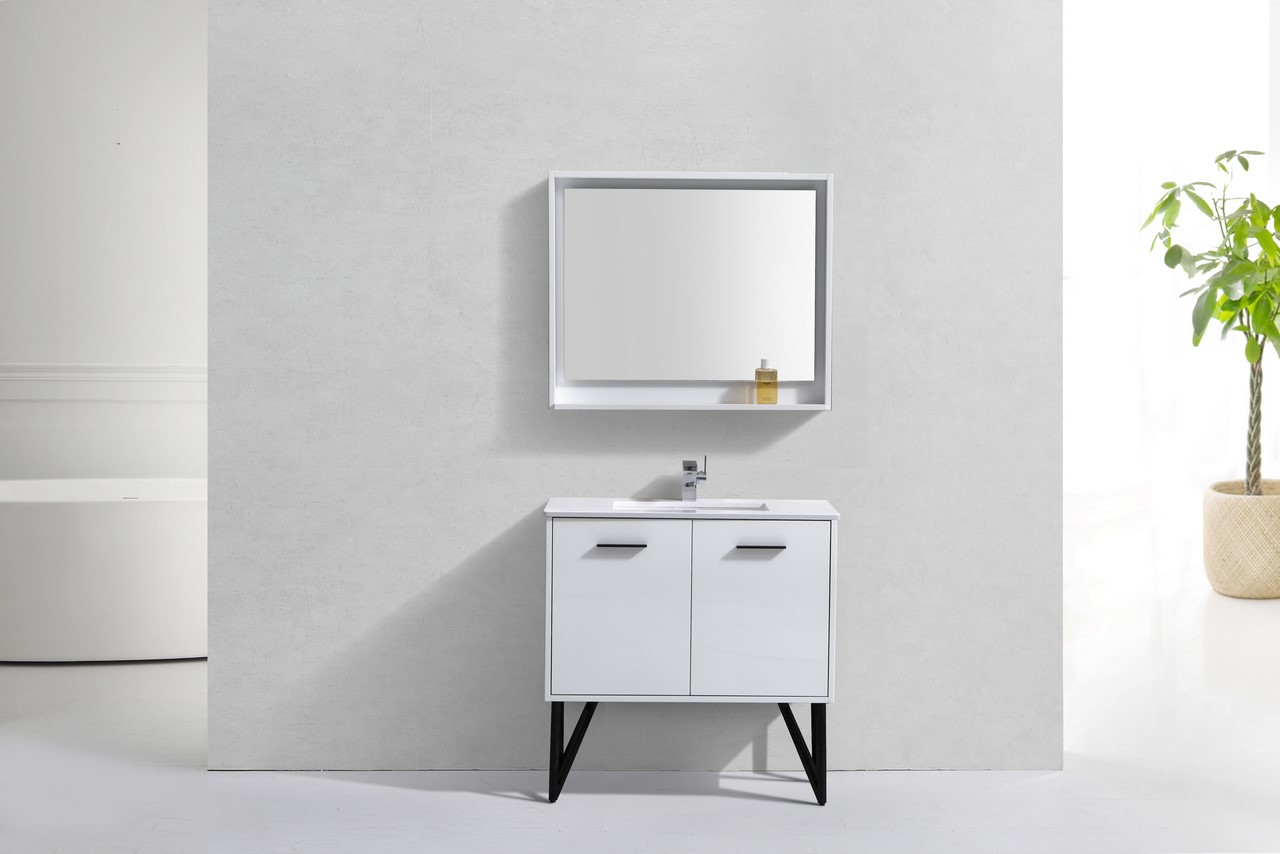 36 Inch High Gloss White Bathroom Vanity With Quartz Top And Matching  Mirror