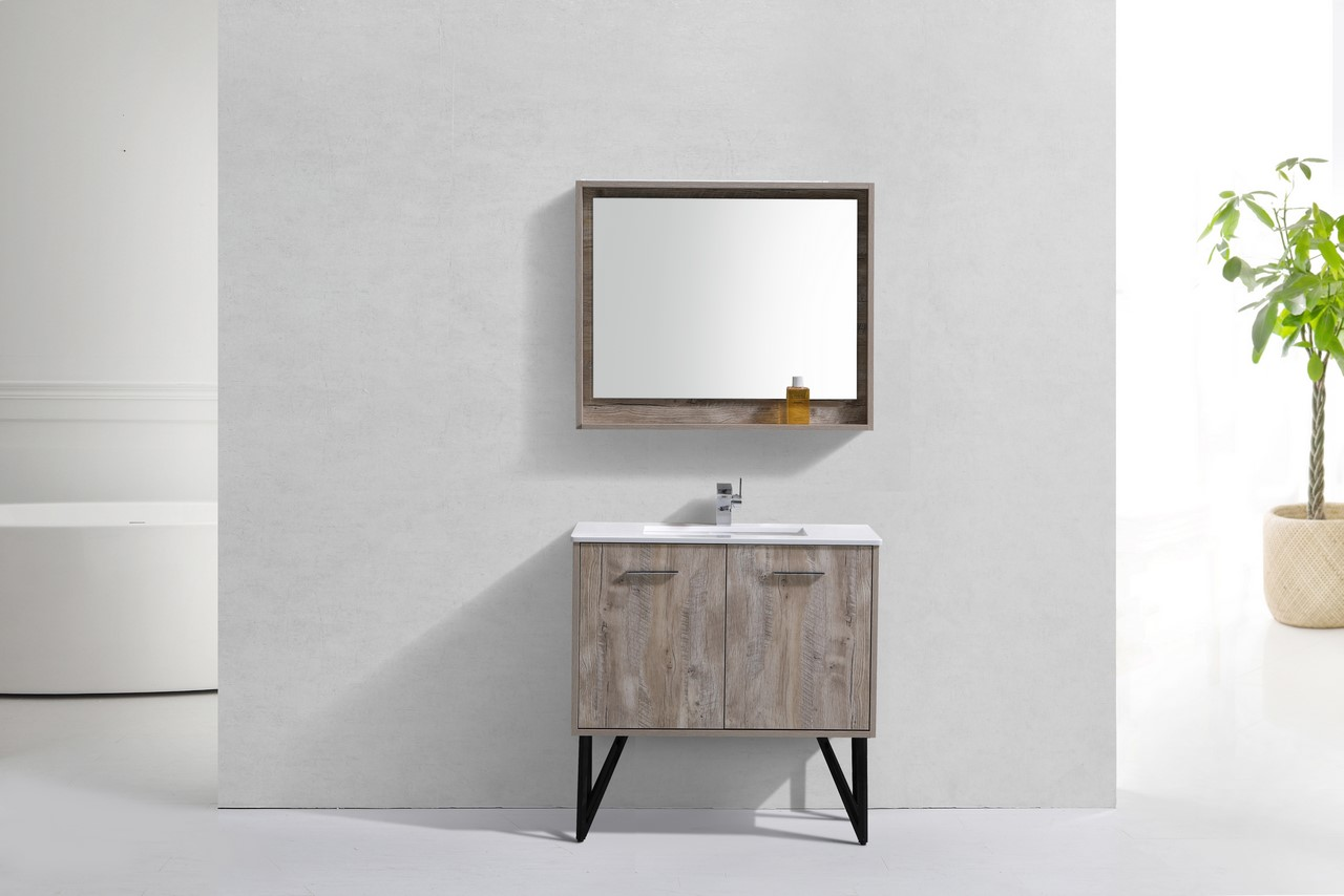 Bathroom Vanity Quartz Top 36 inch nature wood modern bathroom vanity with quartz countertop
