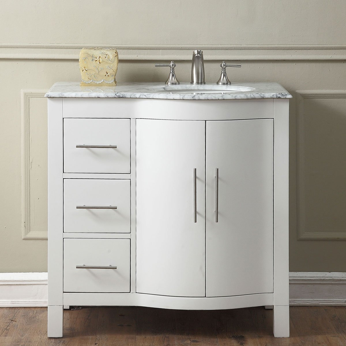 36 Inch Single Sink Contemporary Bathroom Vanity Cabinet In White Finish Carrara White Marble