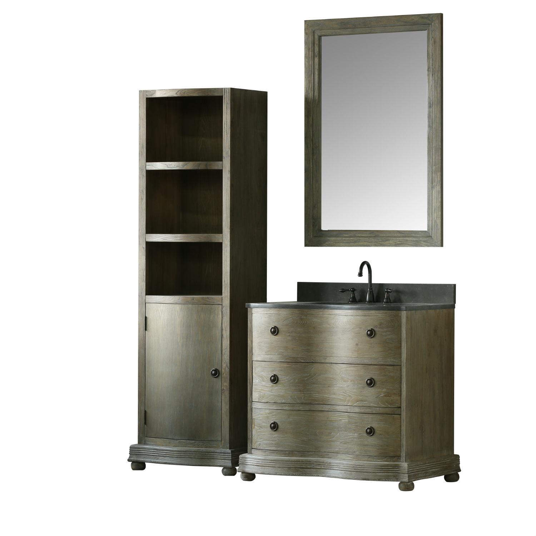 36 inch Distressed Solid Elm Wood Bathroom Vanity White Ceramic Sink