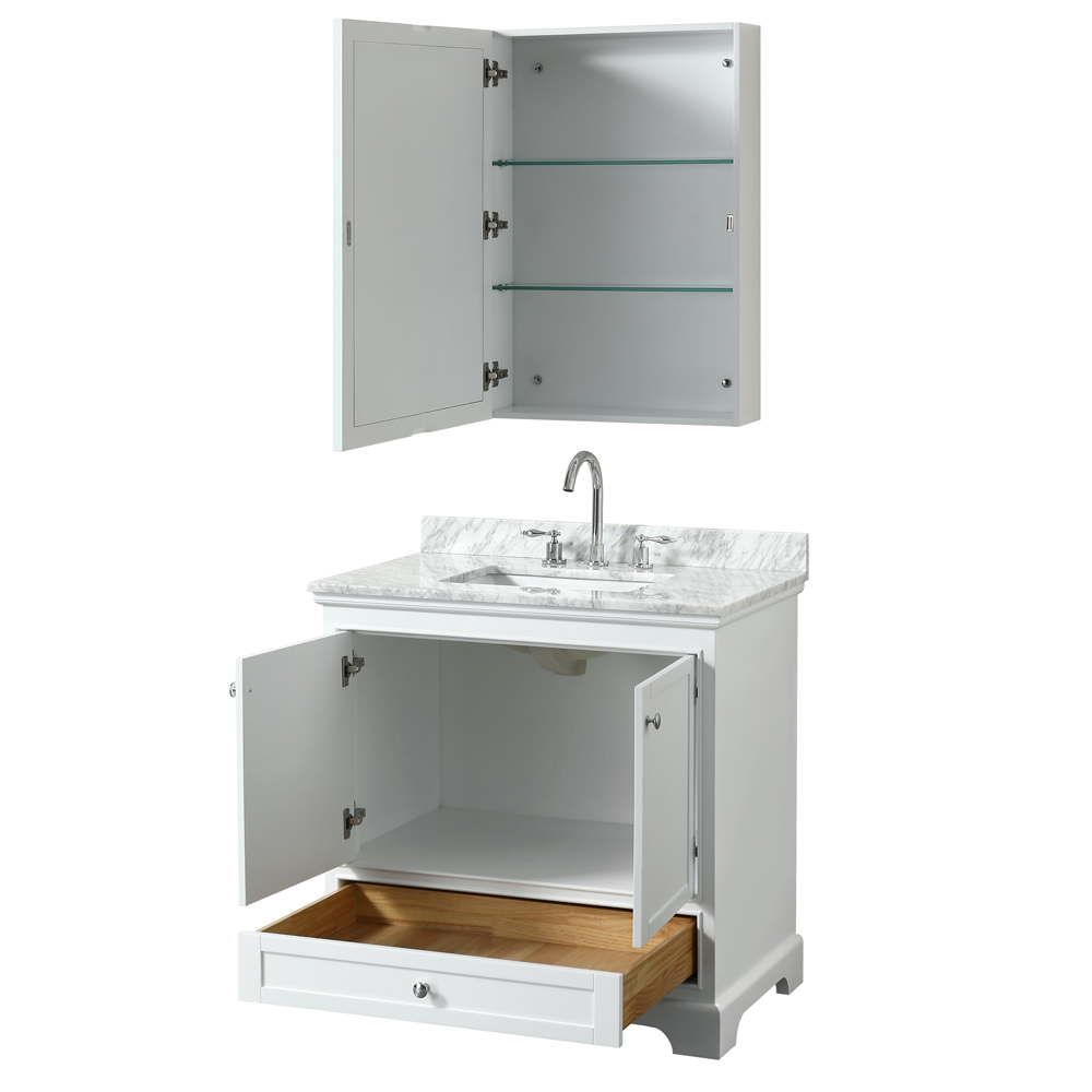 36 inch transitional white finish bathroom vanity set for Bathroom finishes