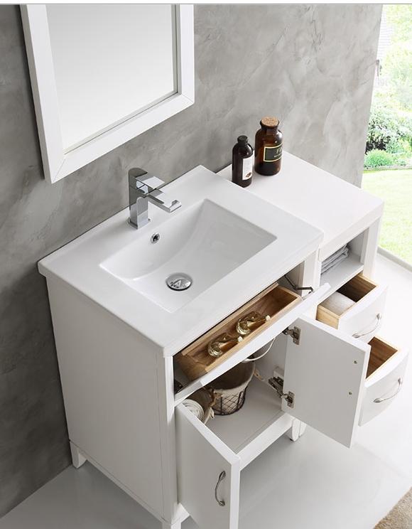 cambridge 36 inch white finish traditional bathroom vanity