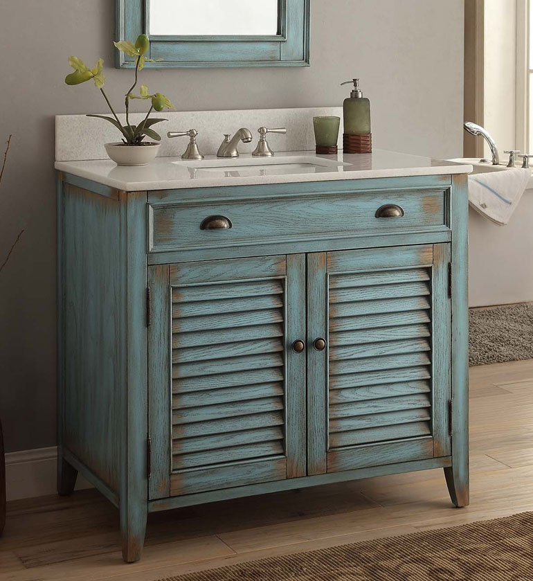 36 Inch Cottage White Sink Bathroom Vanity ...
