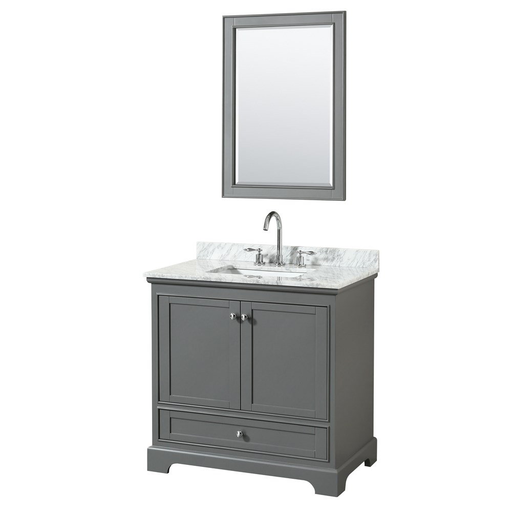 36 inch transitional dark grey finish bathroom vanity set for Bath and vanity set