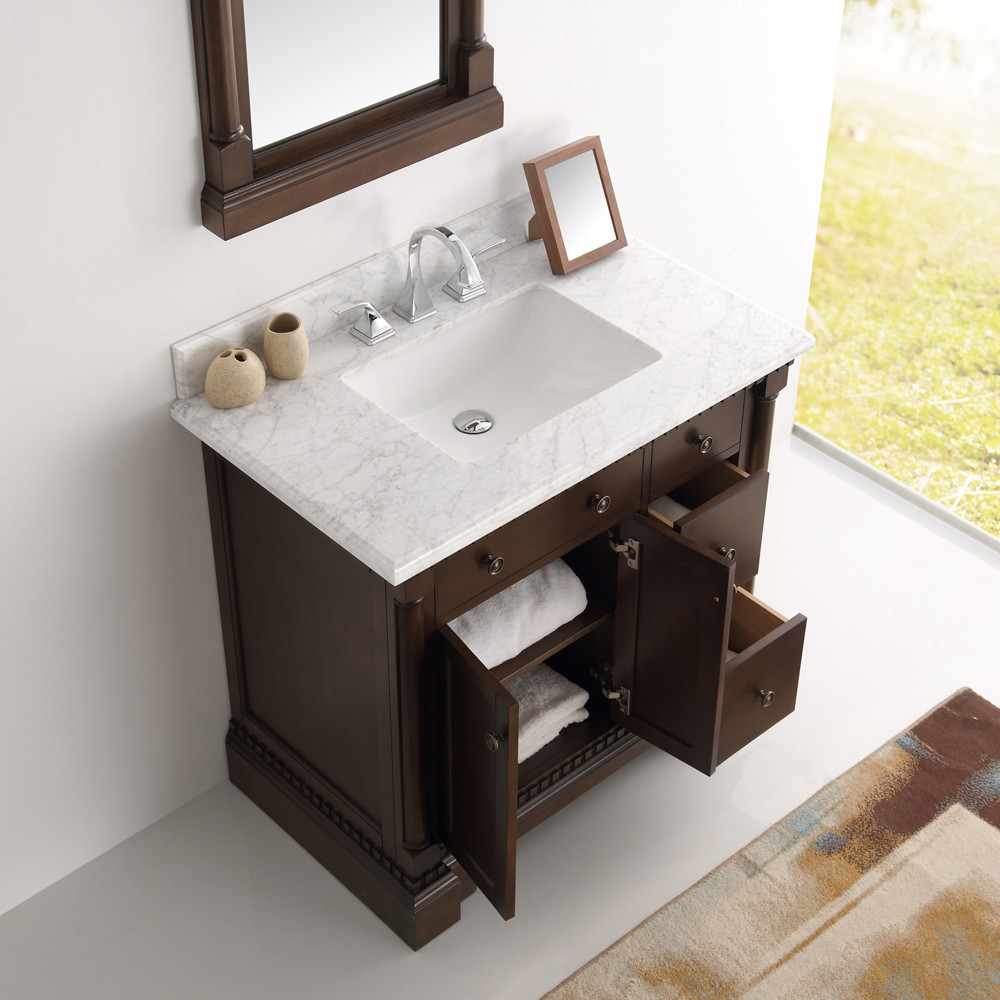 ... 37 Inch Antique Coffee Bathroom Vanity Mirror Carrera Countertop ...