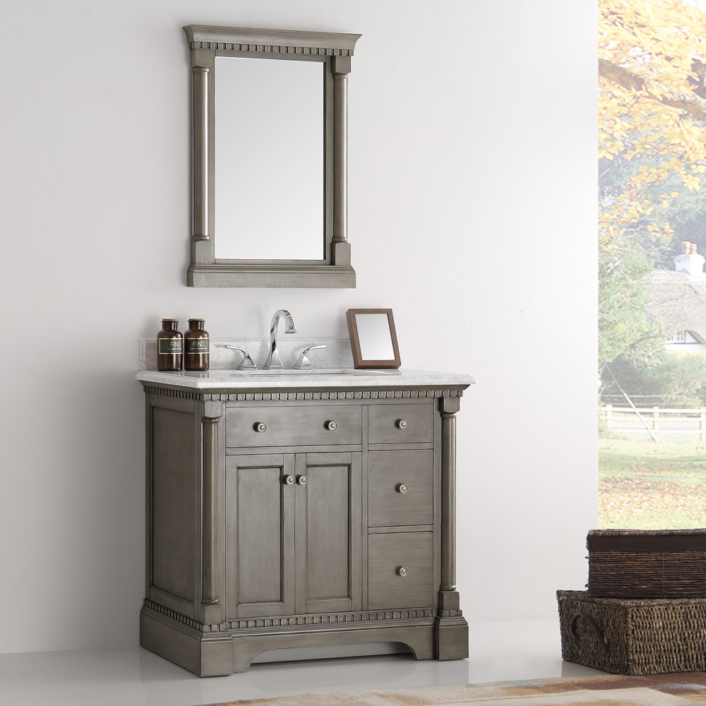 37 Inch Antique Silver Bathroom Vanity With Mirror Carrera Marble Top