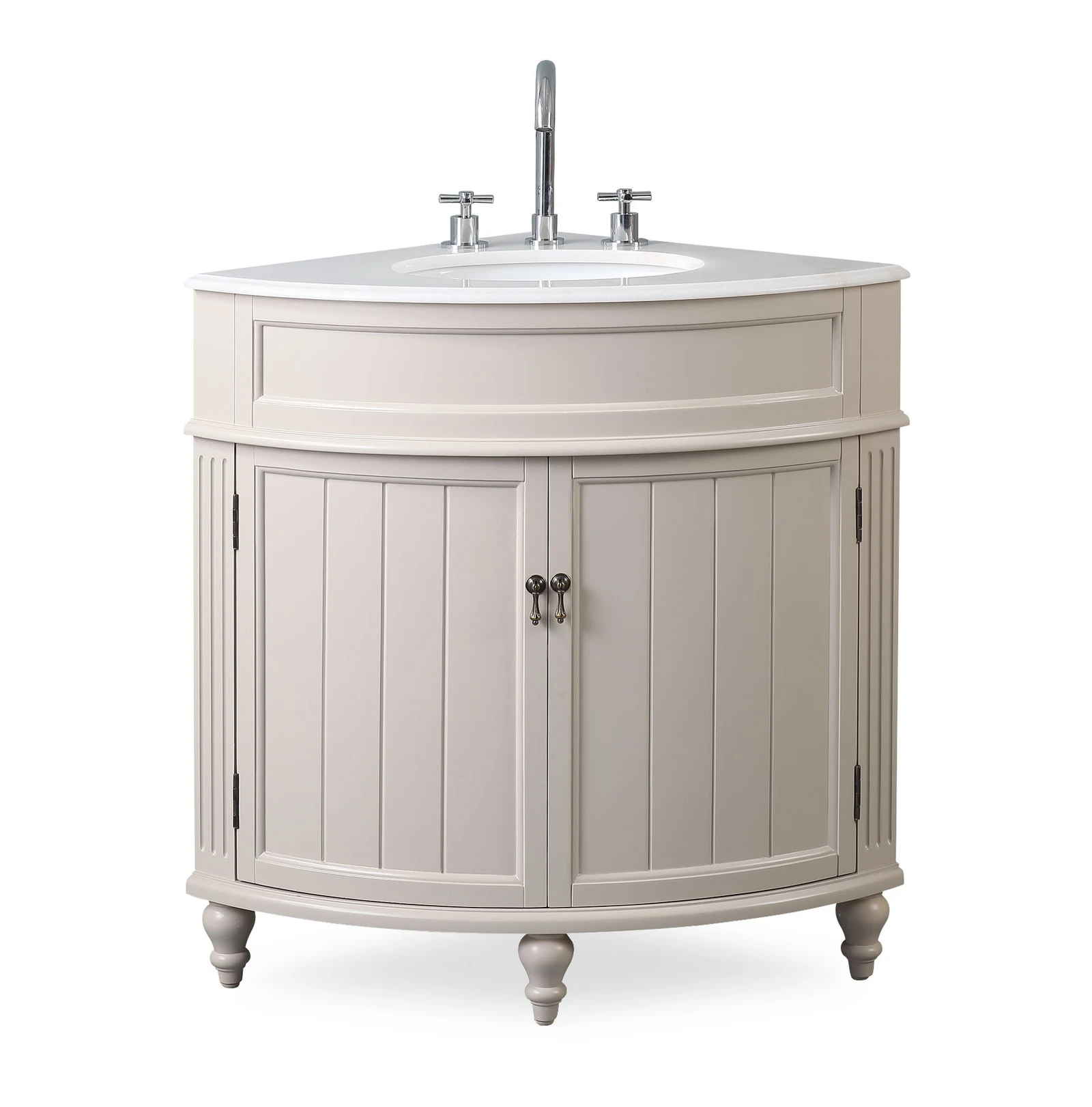 "24"" taupe modern corner bathroom vanity with white marble top"