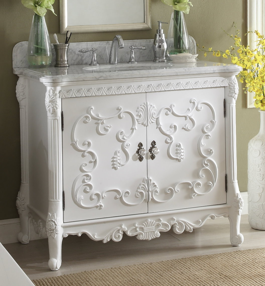 40 inch Adelina Antique White Finish Bathroom Vanity Carrara Marble Top