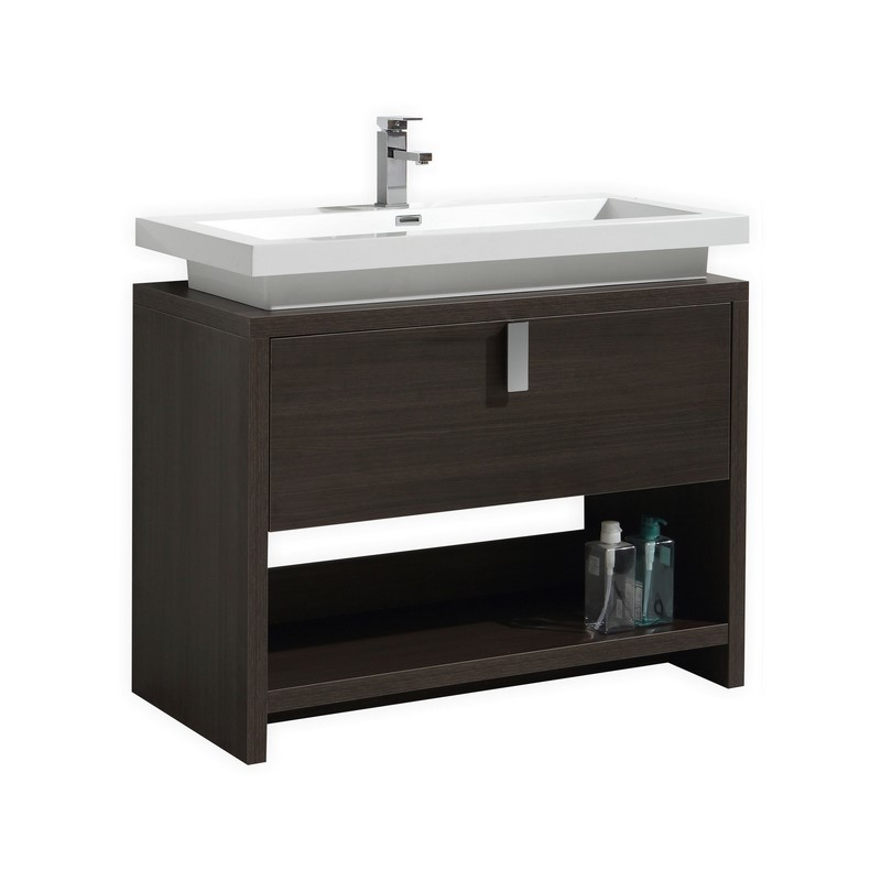 Modern Lux Gray Oak Modern Bathroom Vanity W Cubby Hole - Bathroom vanity pipes