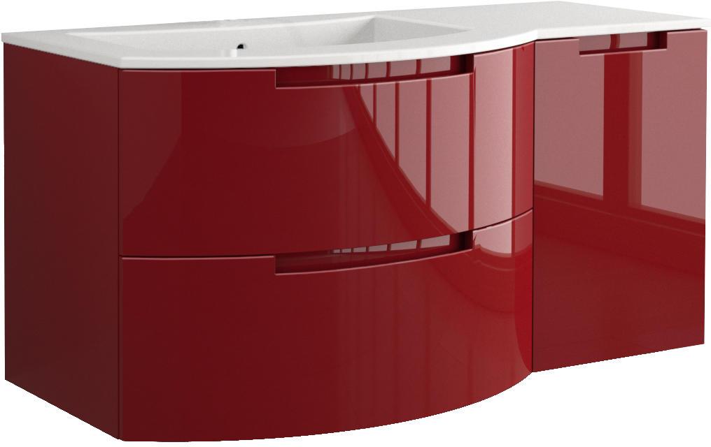 43 inch modern floating bathroom vanity red glossy finish
