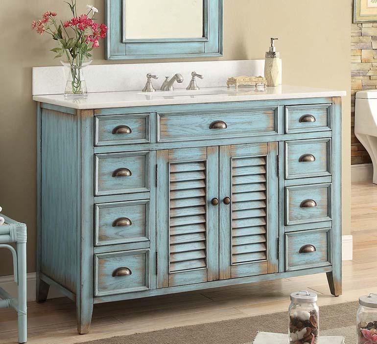 Adelina 46 inch Rustic Cottage Bathroom Vanity White MarbleTop. White Cottage Bathroom Vanity
