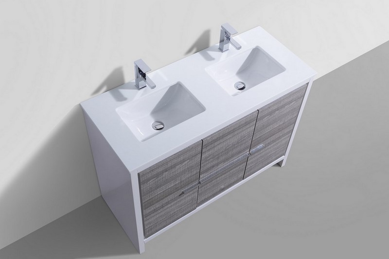 48 Inch Ash Gray Modern Double Sink Bathroom Vanity With White Quartz  Countertop