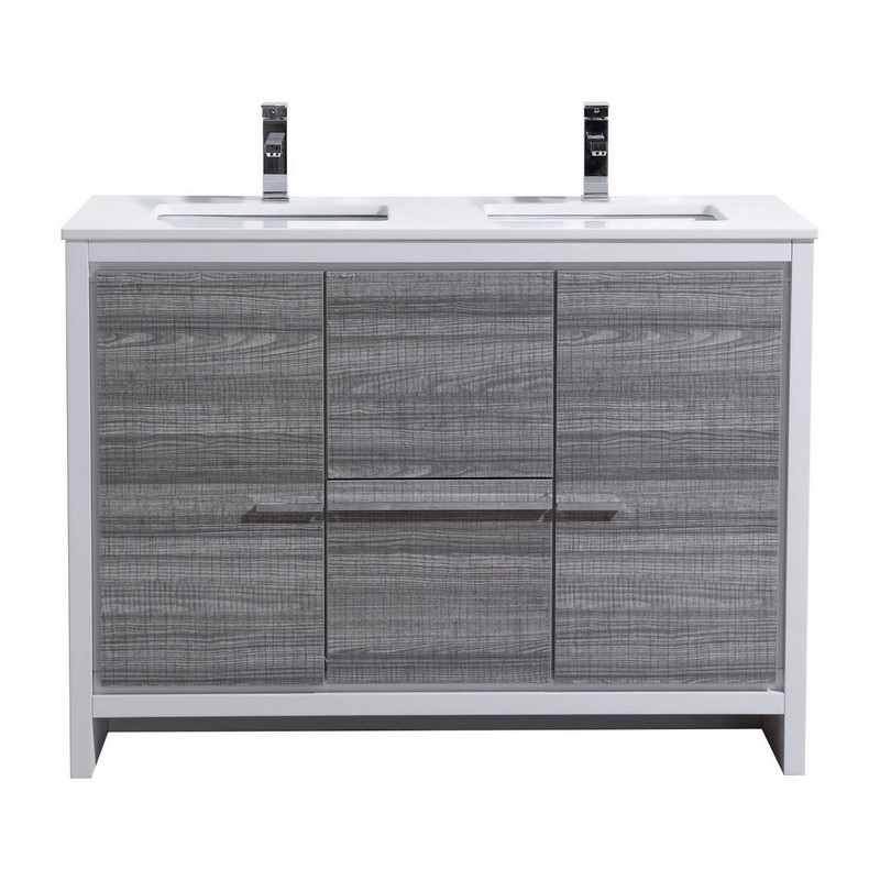 48 Inch Ash Gray Modern Double Sink Bathroom Vanity With