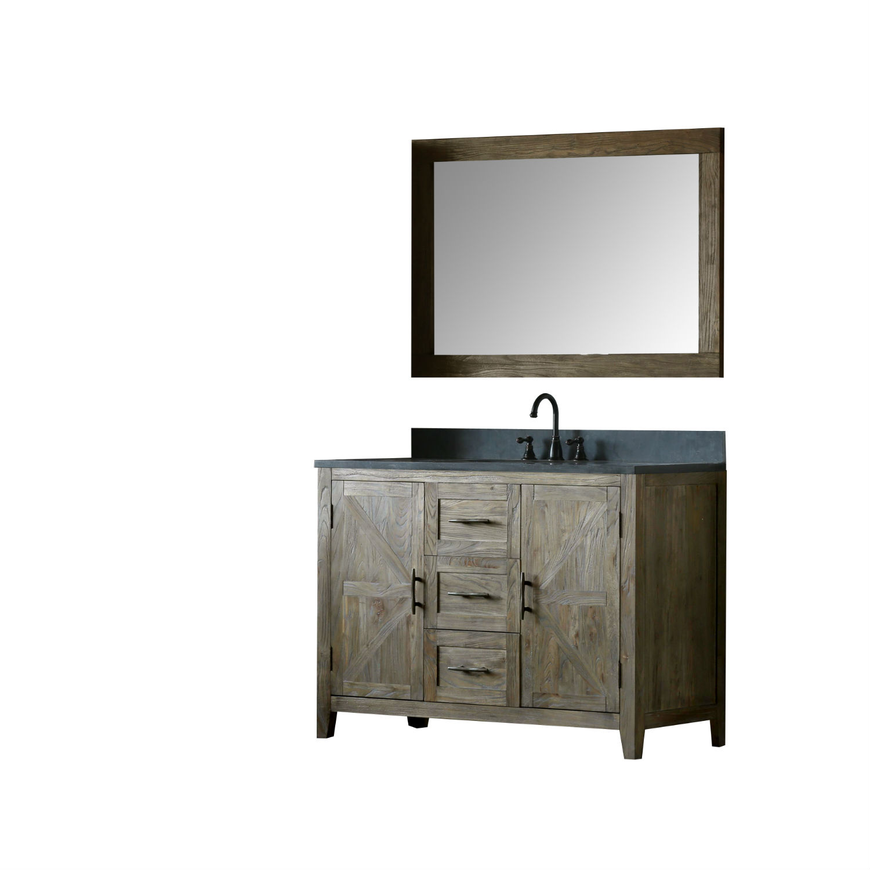 48 Inch Distressed Solid Elm Bathroom Vanity Moon Stone Countertop