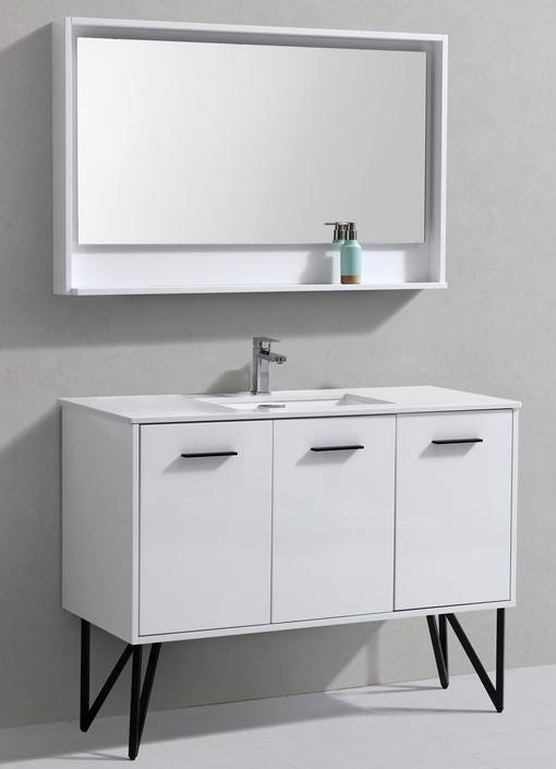 "Modern Lux 48"" High Gloss White Modern Bathroom Vanity W"