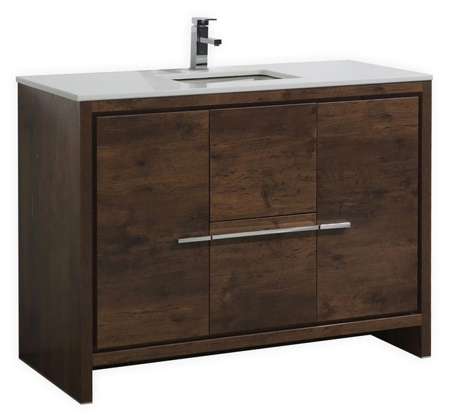 Modern Single Sink Bathroom Vanities inch rose wood modern single sink bathroom vanity with white
