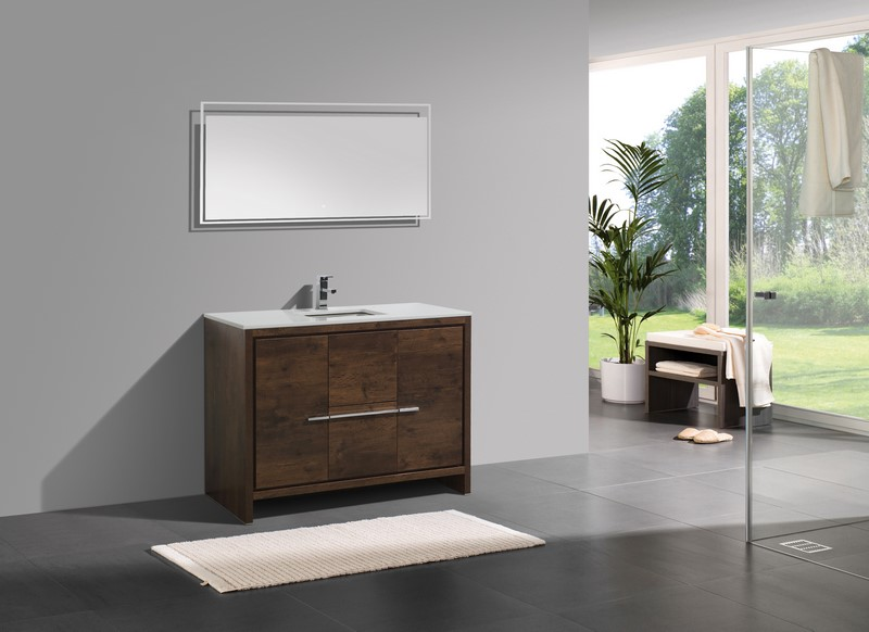 Modern Single Sink Bathroom Vanities 48 inch rose wood modern single sink bathroom vanity with white