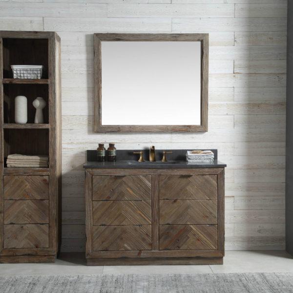48 Inch Rustic Finish Bathroom Vanity Moon Stone Countertop