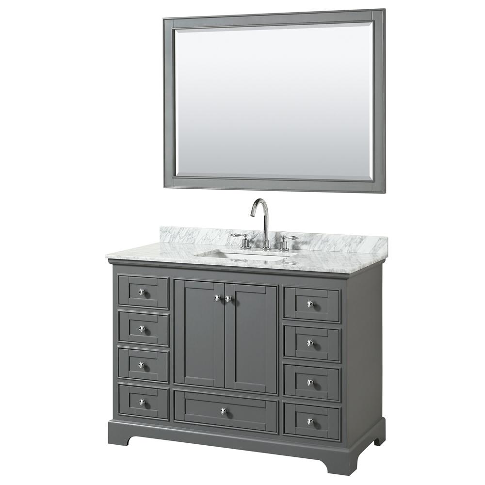 48 Inch Transitional Dark Gray Finish Bathroom Vanity Set
