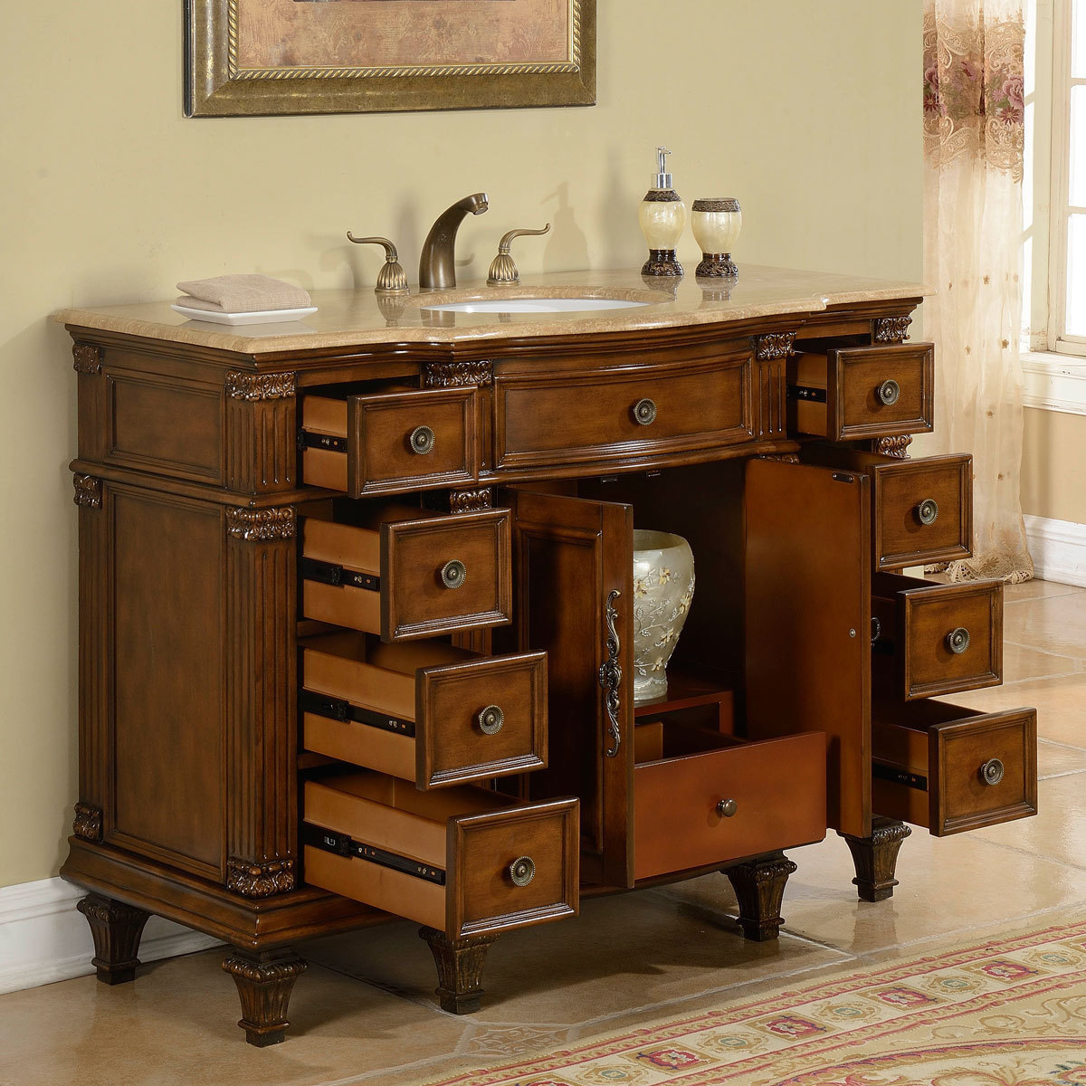 Accord 48 Inch Antique Single White Sink Bathroom Vanity