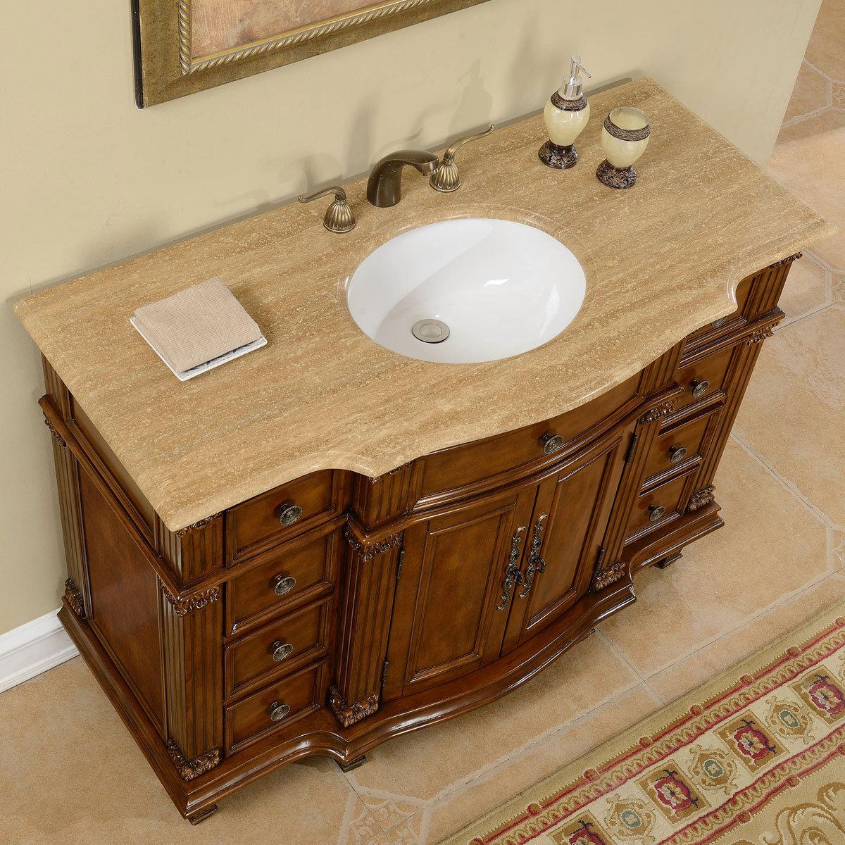 Accord 48 inch Antique Single White Sink Bathroom Vanity. Silkroad Exclusive Travertine Stone Top 29 Inch Bathroom Vanity. Home Design Ideas