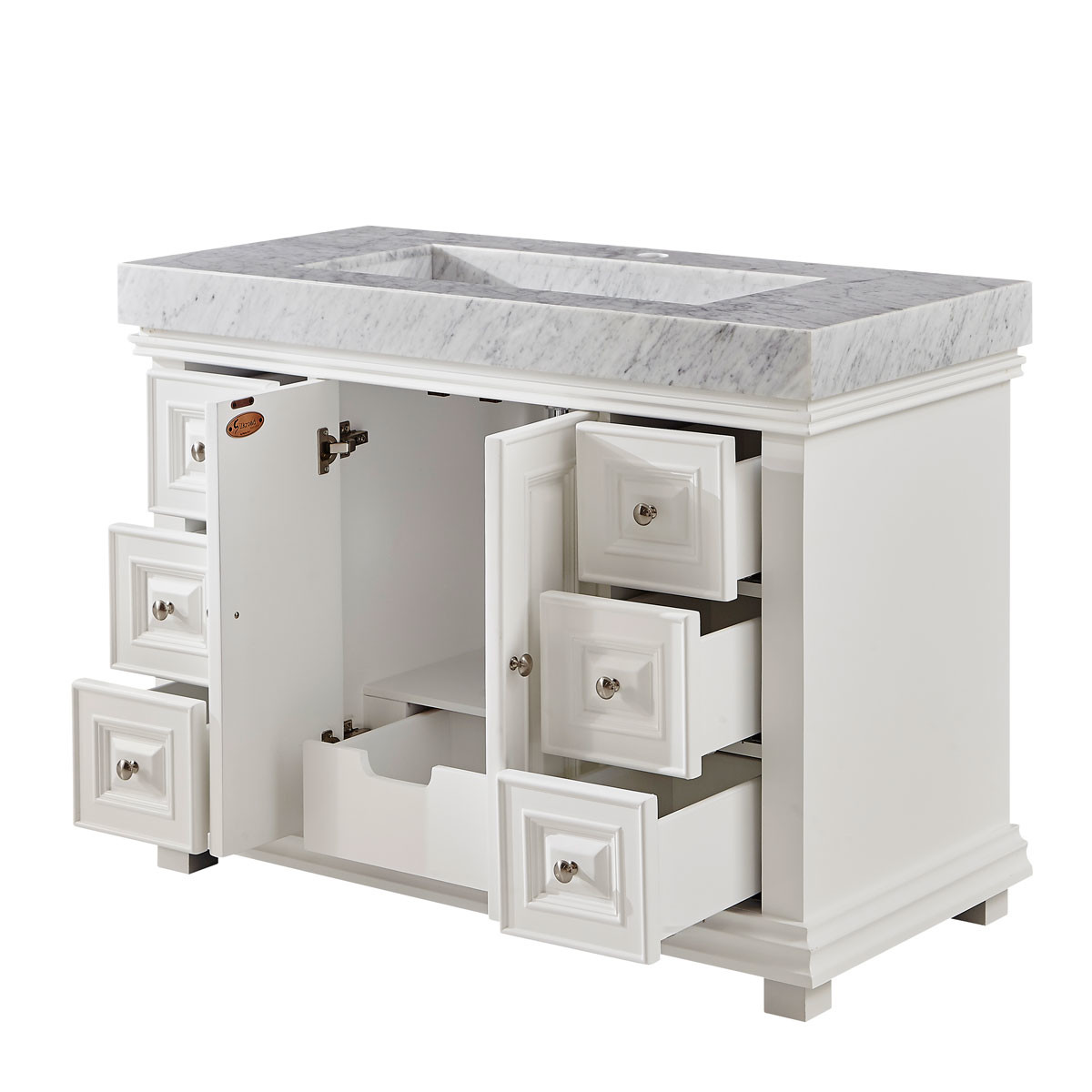 48 inch white finish contemporary bathroom vanity for Bathroom cabinets 48 inch