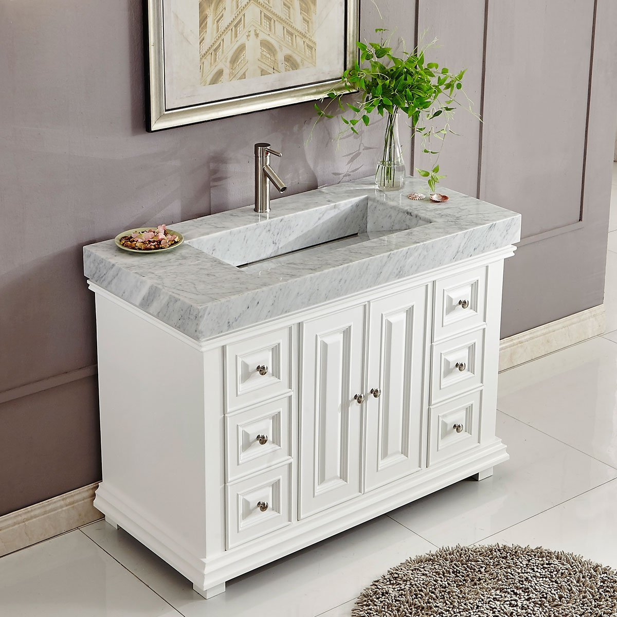 48 Inch White Finish Contemporary Bathroom Vanity Integrated Carrara Marble  Ramp Sink