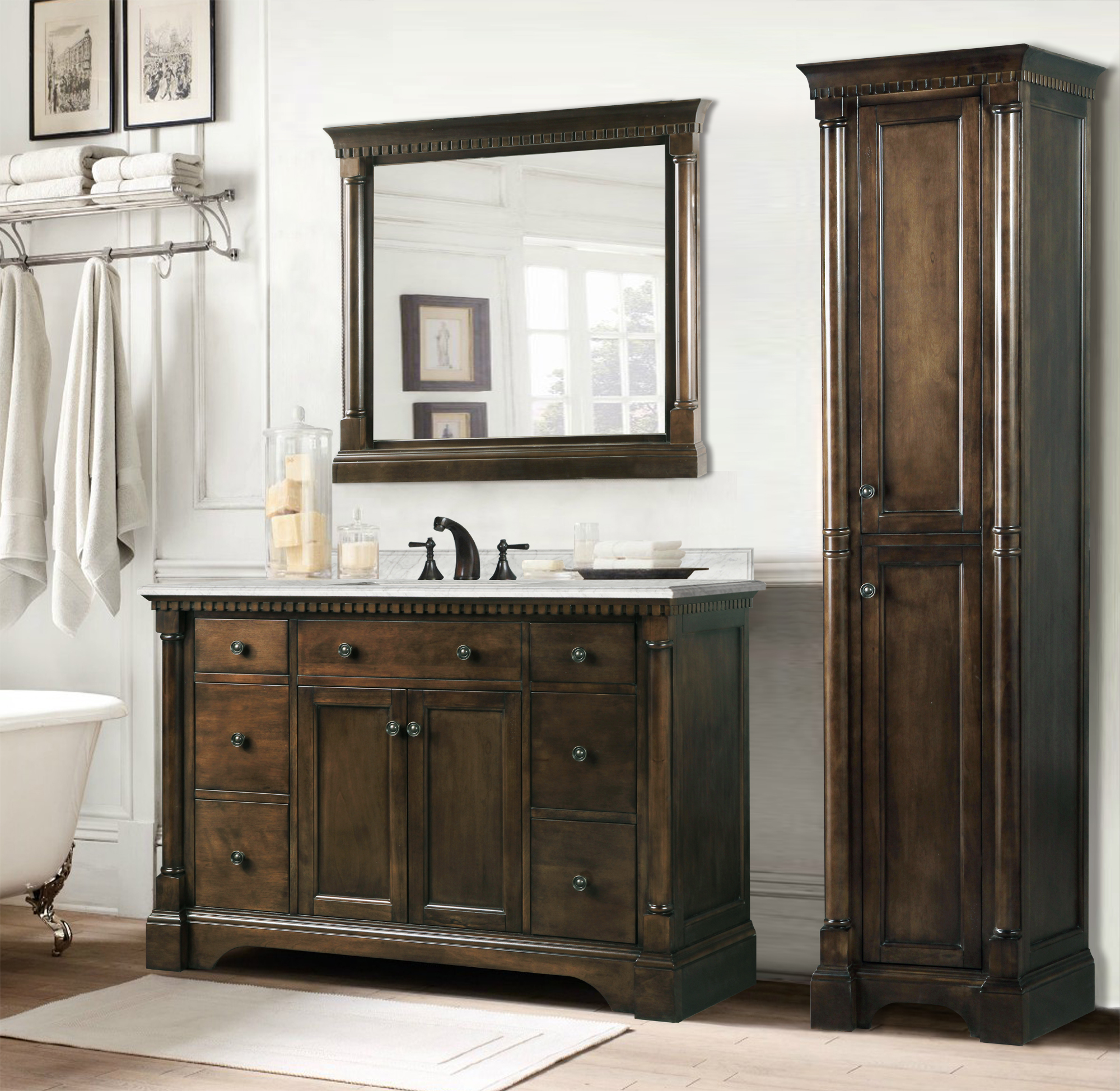 48 Inch Antique Single Sink Bathroom Vanity Coffee Finish