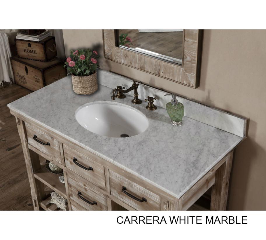 accos 48 inch rustic bathroom vanity matte ash grey limestone top