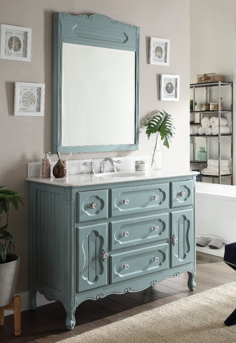 ... 48 inch Antique Cottage Bath Vanity Antique Blue Finish - Adelina 48 Inch Antique Cottage Bathroom Vanity Antique Blue