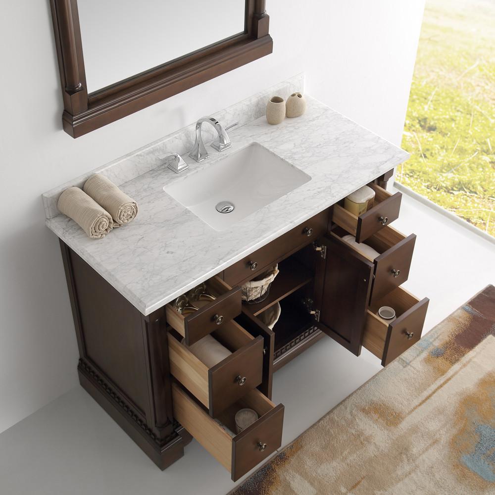 Antique bathroom vanity with mirror - 49 Inch Antique Coffee Bathroom Vanity With Mirror Carrera Marble Countertop