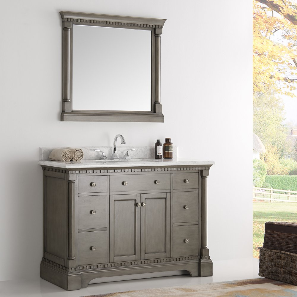49 inch traditional coffee bathroom vanity with mirror and