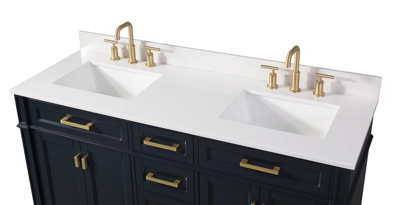 "60"" Modern Navy Blue Double Sink Bathroom Vanity"