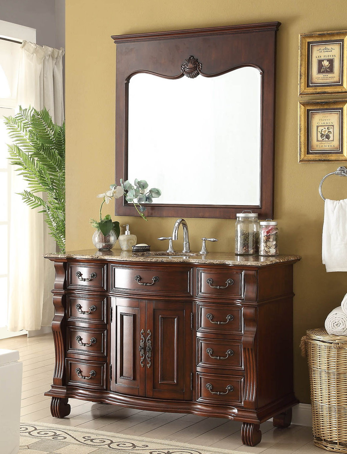 Antique bathroom vanity with mirror - Adelina 50 Inch Antique Bathroom Vanity Brown Finish Brown Marble Top