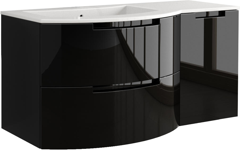... 53 Inch Modern Floating Bathroom Vanity Glossy Finish With Left Sink  Top ...