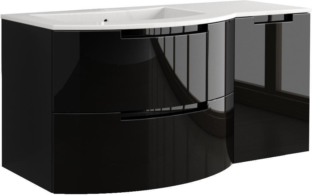 53 Inch Modern Floating Bathroom Vanity Black Glossy