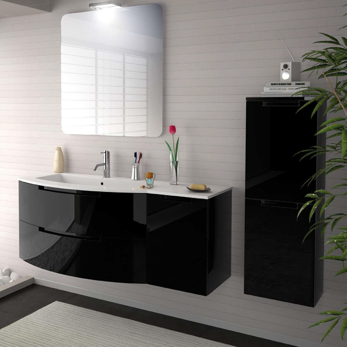 53 Inch Modern Floating Bathroom Vanity Black Glossy Finish With Left Sink Top