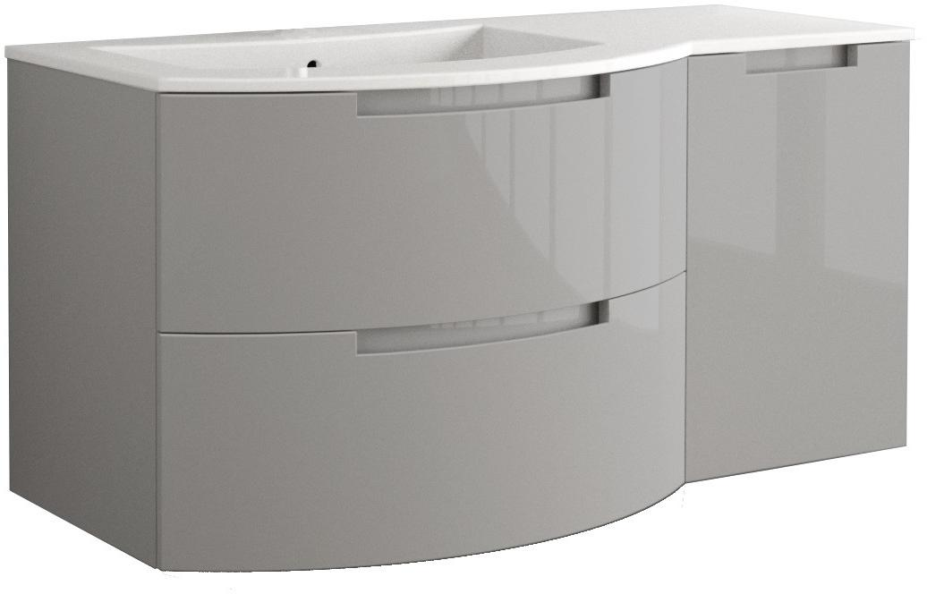 53 Inch Modern Floating Bathroom Vanity Grey Glossy Finish