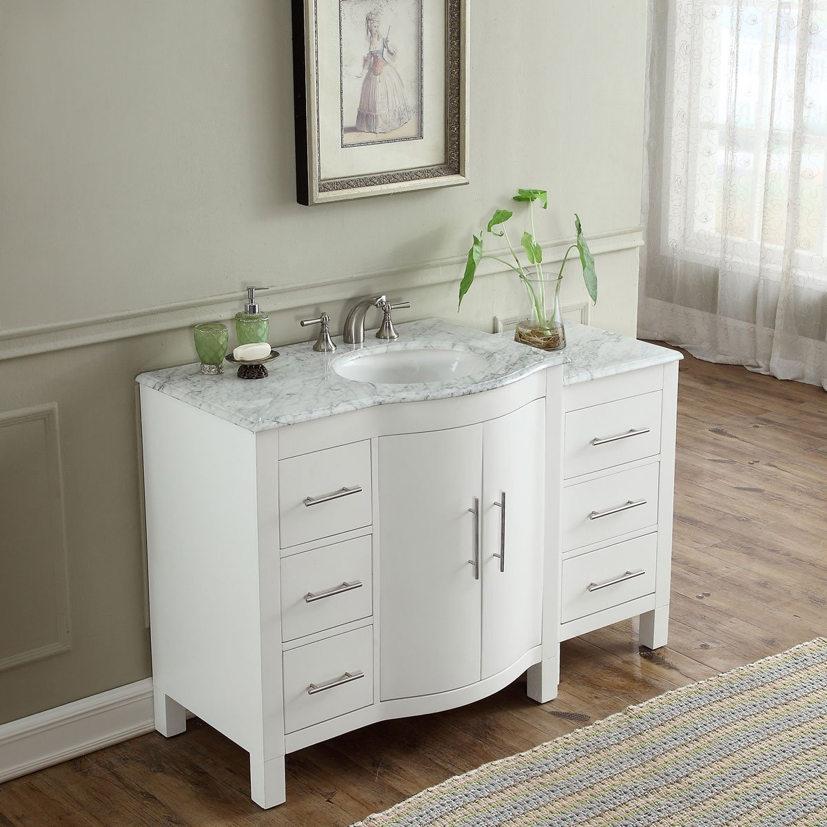 54 inch single sink contemporary bathroom vanity white finish carrara marble top Marble top bathroom vanities