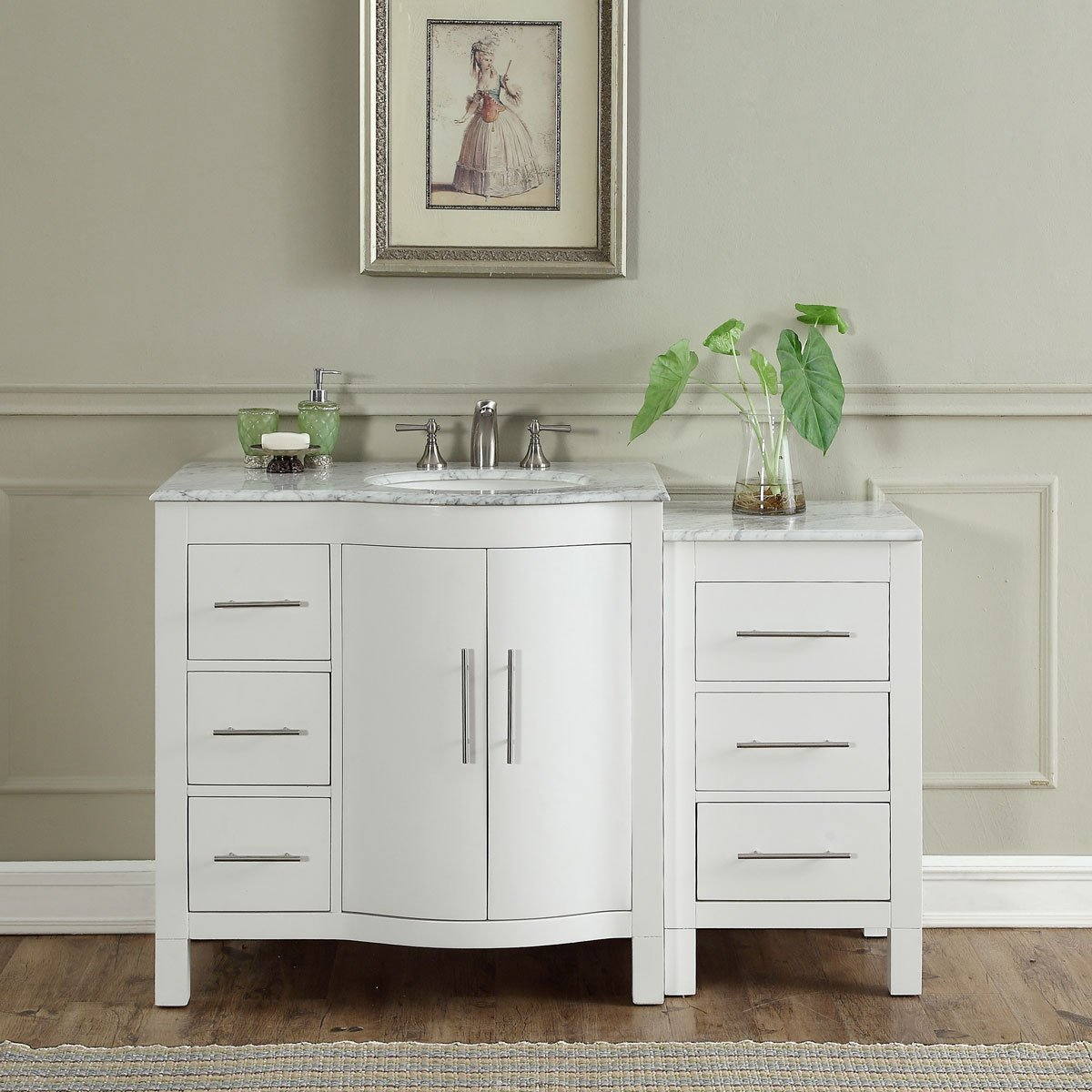 54 inch single sink contemporary bathroom vanity white finish