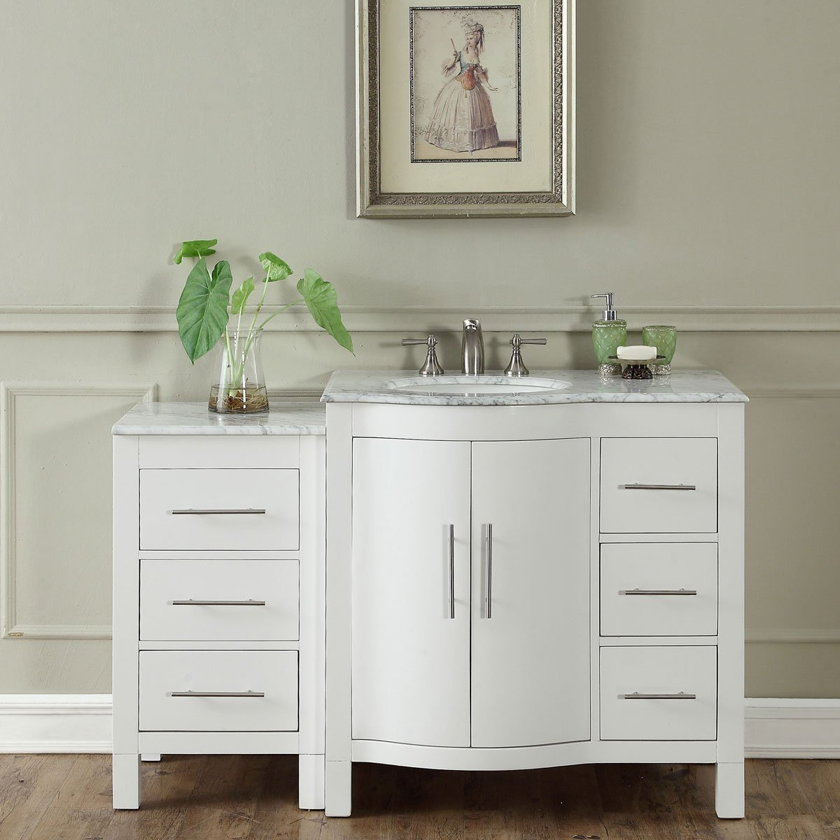54 inch single sink contemporary bathroom vanity cabinet white finish carrara white marble White bathroom vanity cabinets