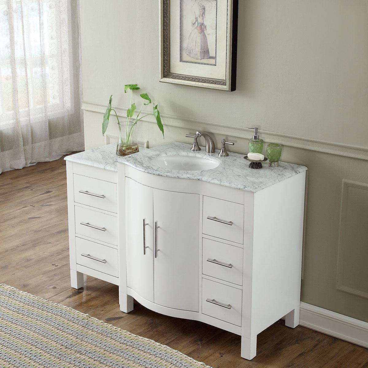 54 Inch Single Sink Contemporary Bathroom Vanity Cabinet White Finish Carrara White Marble