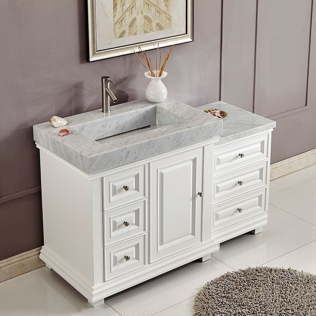 56 Inch Bathroom Vanity White Finish Integrated Carrara