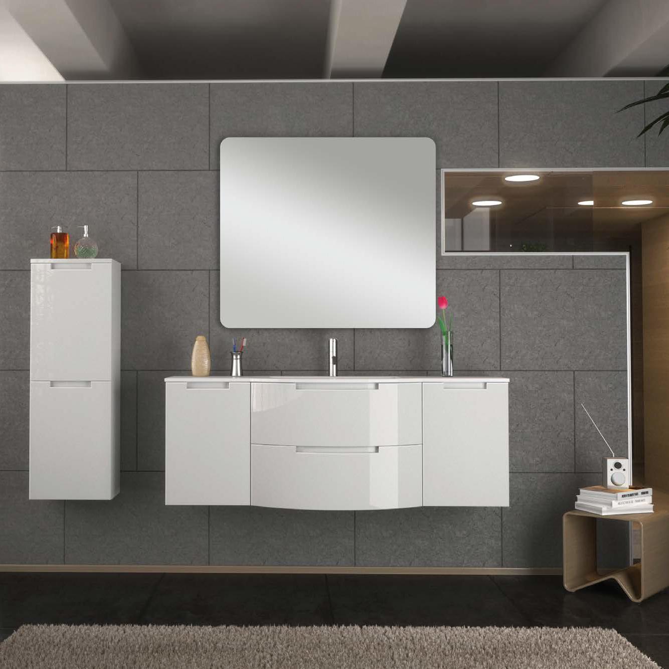 57 inch Modern Floating Bathroom Vanity Black Glossy Finish