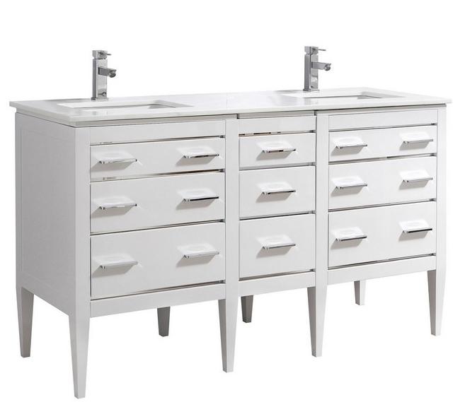59 Inch Bathroom Vanity Part - 44: 59 Inch Contemporary Bathroom Vanity White Glossy Finish Pure White Quartz  Top
