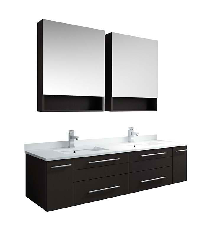 "60"" Espresso Wall Hung Double Undermount Sink Modern ..."